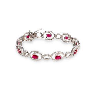 GIA 14k gold, ruby and diamond bracelet