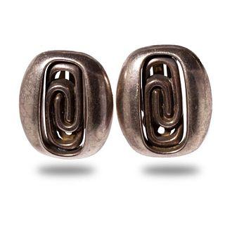 Modernist Design Sterling Clip Earrings Circa 1970
