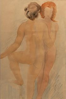 Auguste Rodin, Deux Filles Signed Watercolor and Graphite on Paper