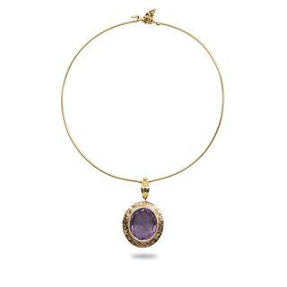 GIA 14K and 10K gold amethyst cameo necklace