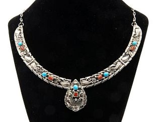GIA Vintage Sterling Navajo Squash Blossom Necklace