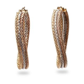 Milor Designer 14K Tri-Gold Triple Hoop Earrings
