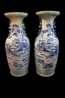 Blue and White Porcelain Large Vase