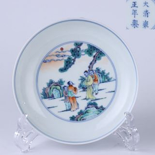 A Chinese Doucai 'Figures' Porcelain Plate