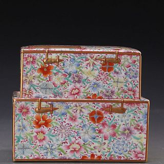 A Chinese Famille Rose Floral Porcelain Box And Cover