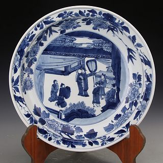 A Chinese Blue And White 'West Chamber' Porcelain Plate