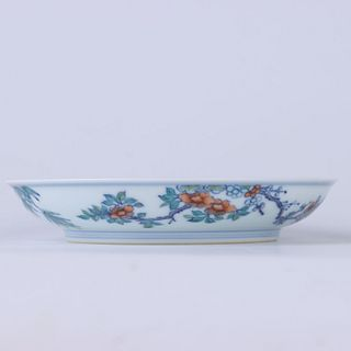 A Chinese Doucai 'Flower And Bird' Porcelain Plate