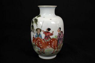 Late Qing Dynasty Enamel Cattle Herding Porcelain  Brush Pot, Qian Long Nian Zhi Mark