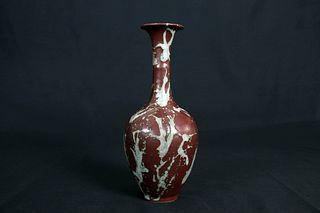 Red Glaze and Shadow Celadon Porcelain Long Neck Vase