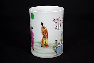 Famille Rose Figure Porcelain Brush Pot, Da Qing Yong Zheng Nian Zhi Mark