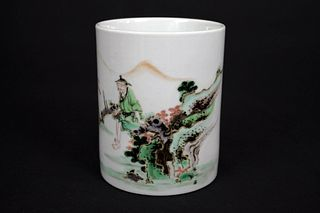 Five Colored Landscape and Figure Porcelain Brush Pot, Da Qing Kang Xi Nian Zhi Mark