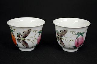 Famille Rose  Fruit and Butterfly Twain Porcelain Cups, Tong Zhi Nian Zhi Mark