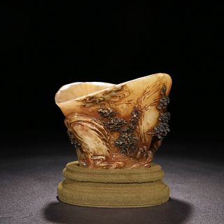 A Carved Shoushan Stone Cup