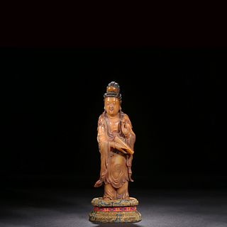 A Carved Tianhuang Stone Standing Statue Of Guanyin