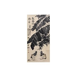 A Chinese 'Quail' Painting Scroll