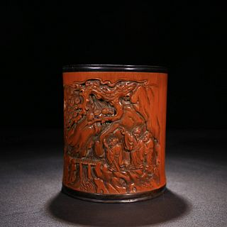 A Chinese Carved Bamboo Figure Brush Pot