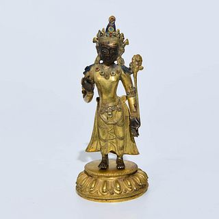 A Bronze Nepalese Style Standing Figure Of Buddha