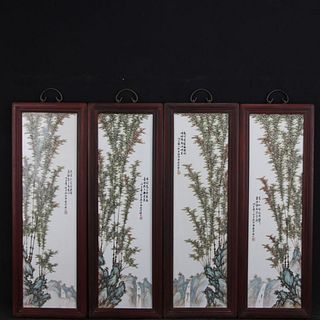 A Set Of Four Famille Rose Floral Porcelain Screens