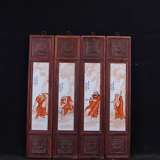 A Set Of Four Chinese Iron-Red 'Arhat' Screens