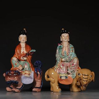 A Pair Of Chinese Porcelain Statue Of Manjusri and Samantabhadra