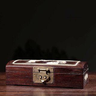 A Redwood Figure Inlaid Storage Box