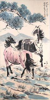 A Chinese Horses Painting, Xu Beihong Mark