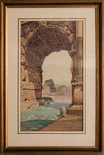 Giovanni Monti (Fusignano 1779-Roma 1844)  - View of the Colosseum from the Arch of Titus
