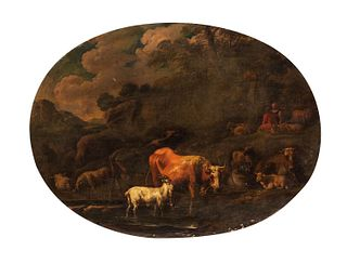 Pittore fiammingo attivo in Italia, inizi secolo XVIII - Two river landscapes with shepherds and herds at the ford