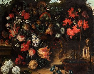 Scuola romana, seconda metà del secolo XVII - Two still lifes of flowers: roses, tulips, carnations and other flowers en plein air with a butterfly; a