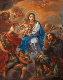 Scuola romana secolo XVIII - Madonna and Child in Glory between Saints Rocco and Sebastian and an Angel