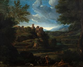 Jan Frans  van Bloemen, detto L'Orizzonte (Anversa 1662-Roma 1749)  - Arcadian landscape with shepherds and herds in the foreground and a turreted vil