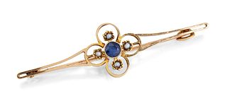 A 15CT SAPPHIRE AND SEED PEARL BAR BROOCH, the central coll