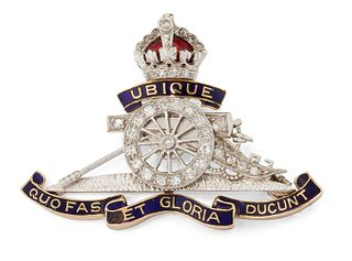 A DIAMOND AND ENAMEL ROYAL ARTILLERY SWEETHEART BROOCH, the