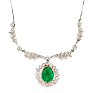 A BELLE EPOQUE EMERALD AND DIAMOND NECKLACE, the pear shape
