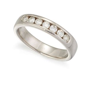 AN 18CT HALF HOOP ETERNITY RING, the upper half channel set