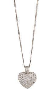 A DIAMOND-SET HEART PENDANT NECKLACE  The heart-shaped pend