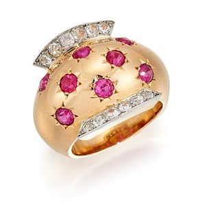 A DIAMOND AND RUBY COCKTAIL RING BY VAN CLEEF AND ARPELS, t