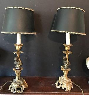 Gorgeous Rare French Cupid Lamps