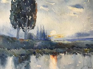 French Barbizon Ethereal Sunset Landscape Watercolor