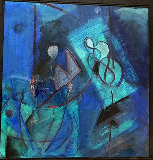 Stunning Abstract Gouache on Paper signed Appel LR