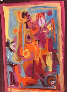 Stunning Abstract Gouache Painting by John Ulbricht 1949