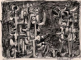 Abstract Group of Figures Ink Drawing: John Ulbricht 1946