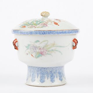 20th c. Republic Chinese Porcelain Famille Rose Warming Dish