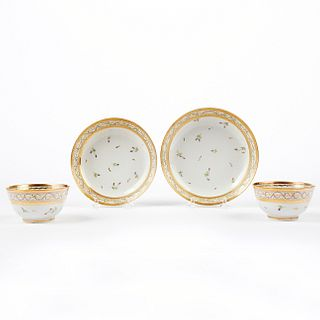 Set of Chinese Export Porcelain Tea Bowls & Saucers