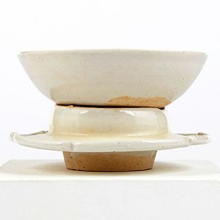 Chinese Song Dynasty White Glazed Bowl & Stand