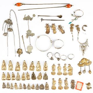 Assorted Chinese Silver Objects - Hat Pins Jewelry
