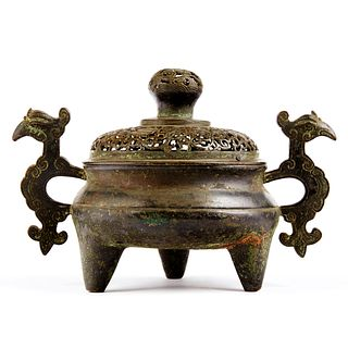 Chinese 17th c. Bronze Tripod Censer w/ Cover