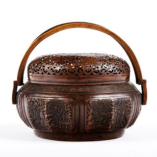 18th c. Chinese Bronze Hand Warmer - Marked
