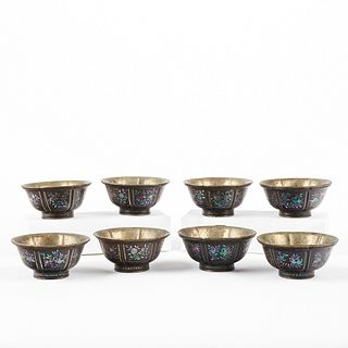Set of 8 Chinese Mother of Pearl Inlaid Bowls