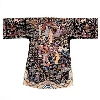 Early 20th c. Chinese Embroidered Silk Robe
